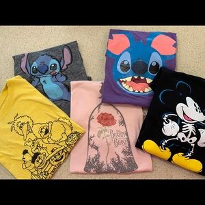 Set of five graphic Disney tshirts for women